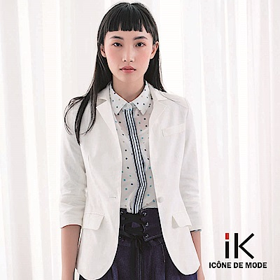 iK-俐落翻領開襟反褶七分袖西裝外套