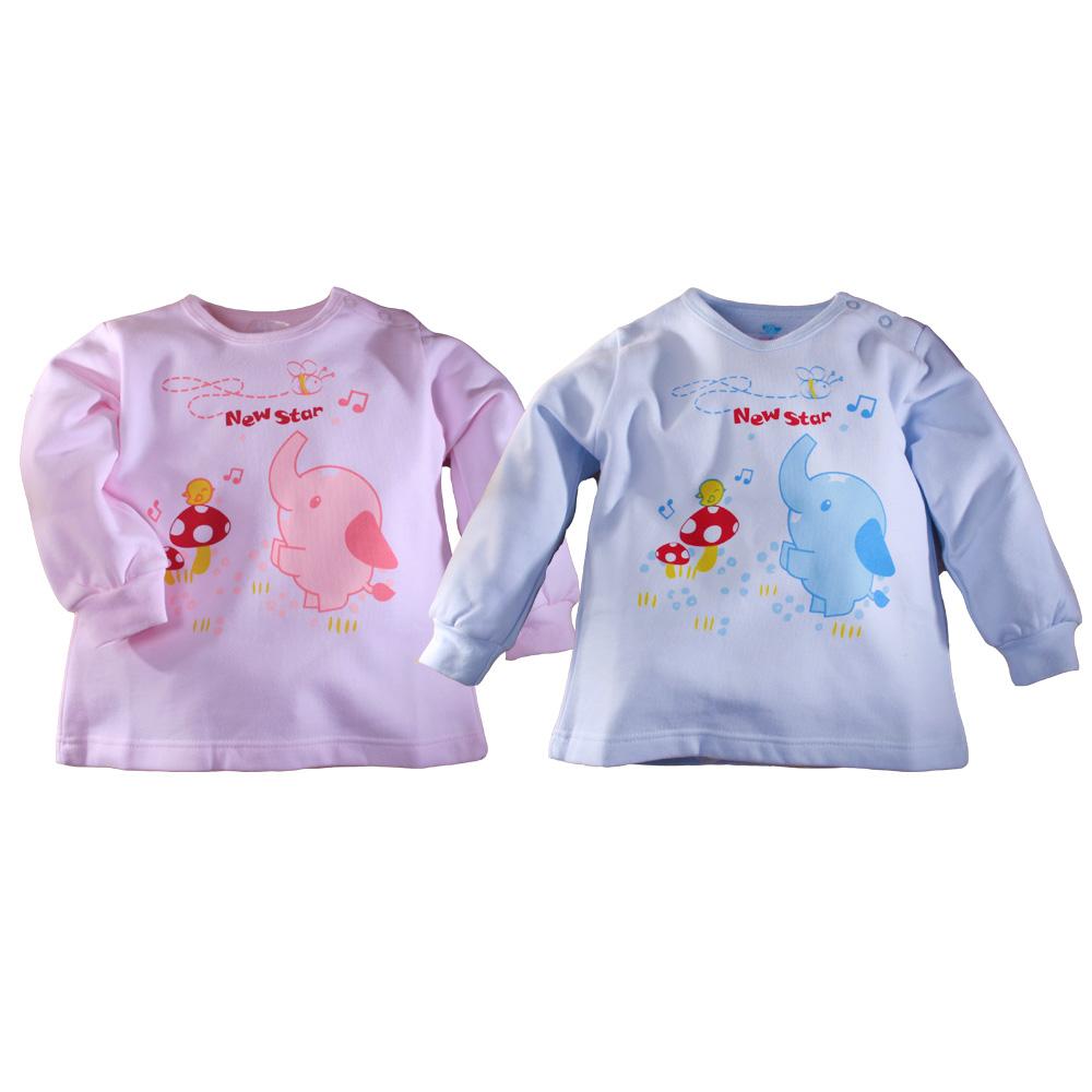 魔法BABY~台灣製造厚款幼兒長袖肩開上衣(藍.粉)~g3232