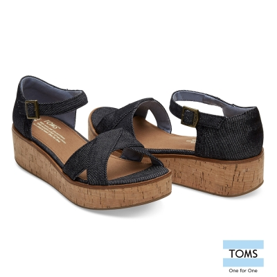 TOMS 帆布魚口楔型鞋-女款