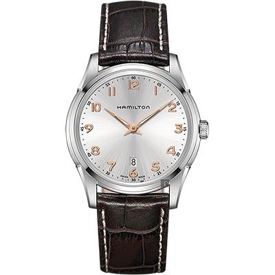 Hamilton漢米爾頓 JAZZMASTER 經典石英錶-銀x咖啡/42mm