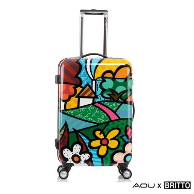 AOU & BRITTO 24吋拉桿旅行箱 海關鎖 時尚潮流(花園)97-001B-D5