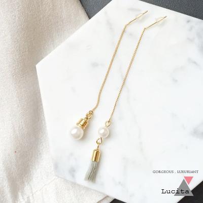 LuciTA 空運限量新品 浪漫風情珍珠流蘇不對稱耳環