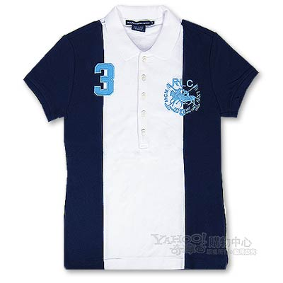 Ralph Lauren 夾心色雙馬3號POLO女衫(白藍)