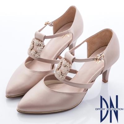 DN-華麗注目-方形鑽飾繫帶尖頭高跟鞋-粉