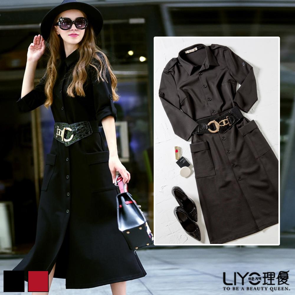 LIYO理優歐風長板襯衫洋裝(黑色)