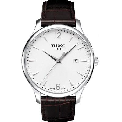 TISSOT Tradition 復刻大三針腕錶-白x咖啡色錶帶/42mm T0636101603700