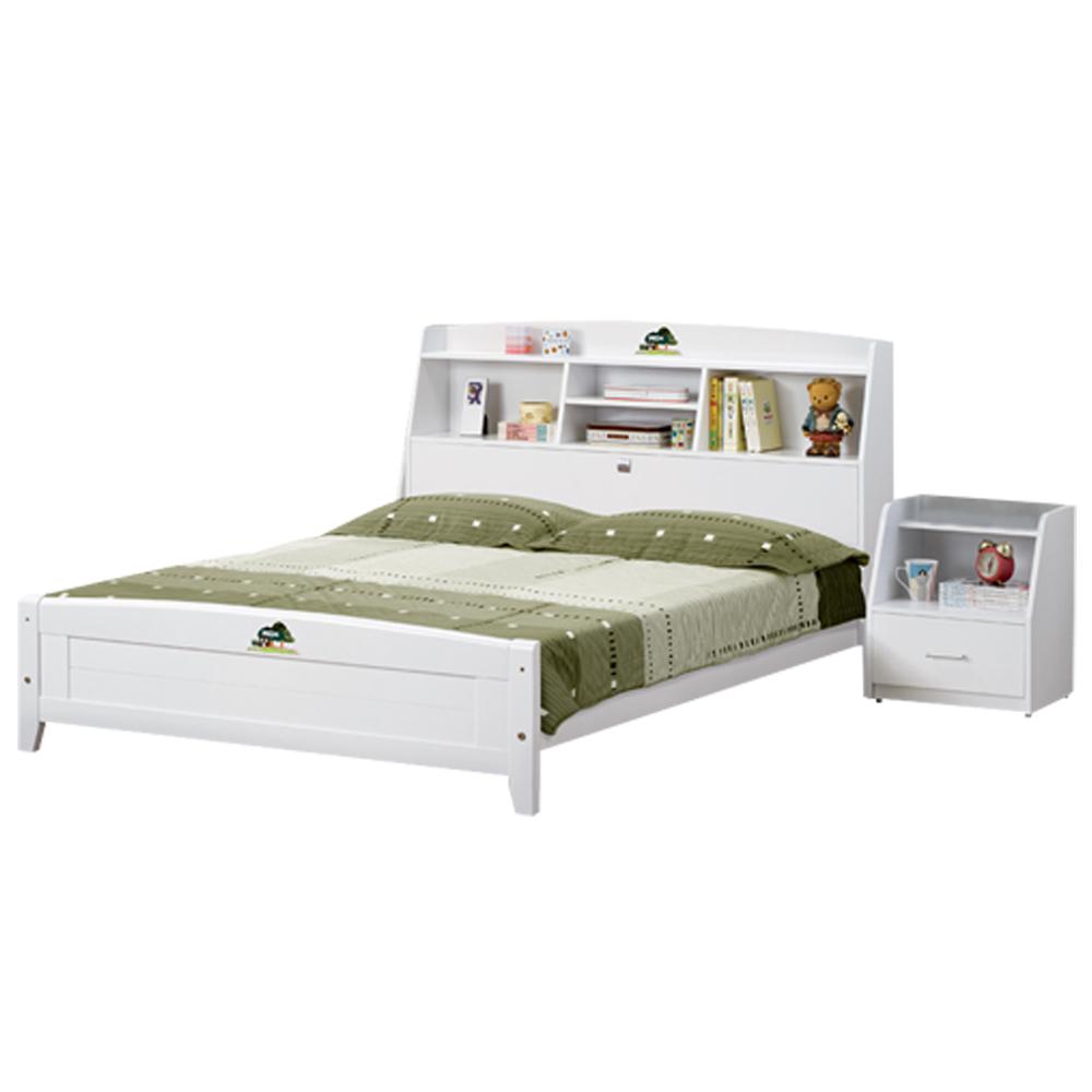 時尚屋 菲莉絲白色5尺彩繪書架雙人床24-4(含床頭-床架-床頭櫃)