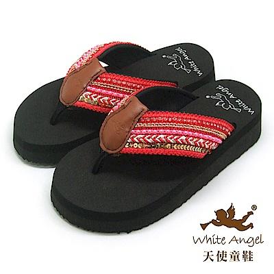 天使童鞋-卡爾蜜雅夾腳親子拖鞋(超大童)-紅