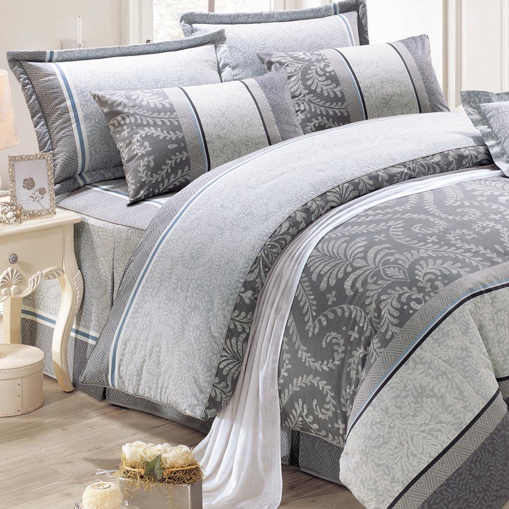 鴻宇HongYew 100%精梳棉 媞娜花園 灰 雙人加大七件式兩用被床罩組
