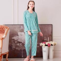 睡衣 精梳棉柔針織 長袖兩件式睡衣(67207)藍綠色 活力綿羊 蕾妮塔塔