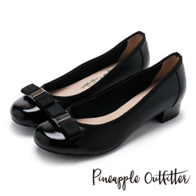 Pineapple Outfitter 典雅女伶 雙層蝴蝶結真皮拼接低跟鞋-黑色