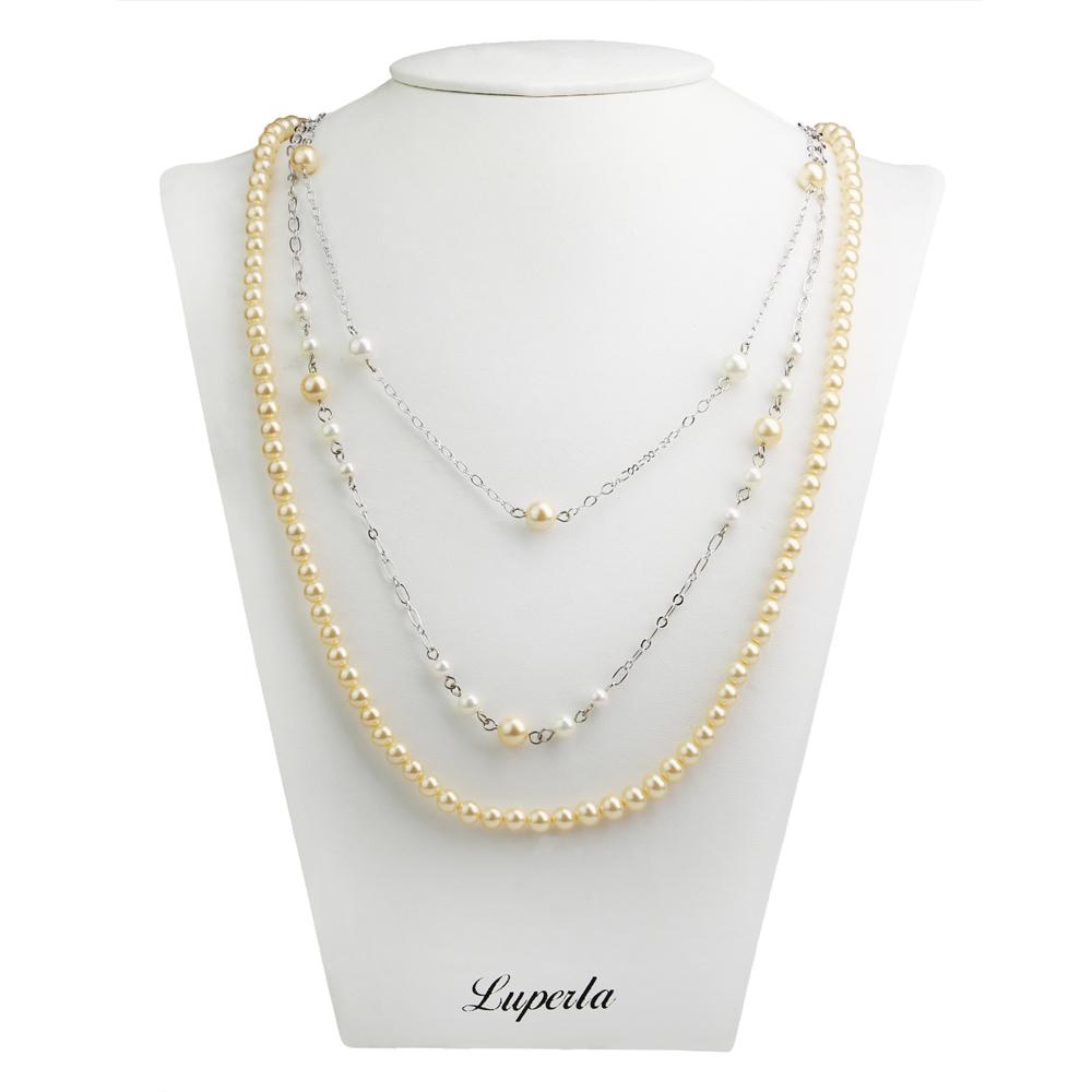 大東山珠寶 3層款式南洋貝寶珠長版項鍊-金
