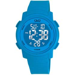 Q&Q 多色酷炫潛水膠帶風功能電子錶-藍/44mm