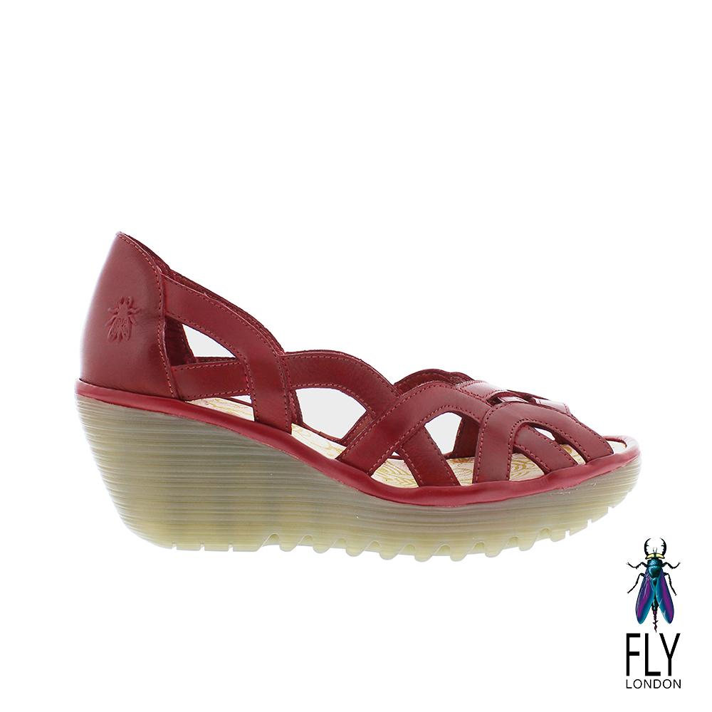 Fly London(女) 鏤空的線條 牛皮平高底楔型鞋-鬥牛紅