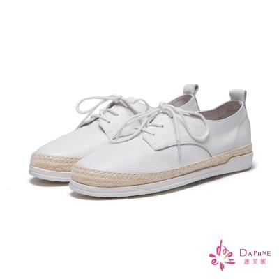 達芙妮DAPHNE-休閒鞋-全真皮草編平底鞋-白