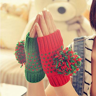 Decoy 繽紛彩球 撞色聖誕露指手套 紅綠