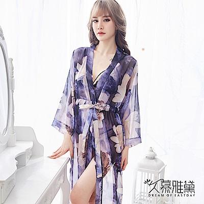 性感睡衣 幻彩印花雪紡薄紗飄逸睡袍。紫色  久慕雅黛