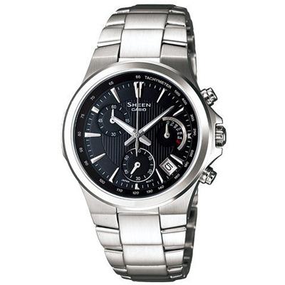 CASIO SHEEN 都會雅緻三眼時尚腕錶-黑/33mm