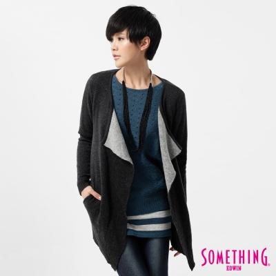 SOMETHING-針織外套-簡約開襟線衫外套-女-黑灰