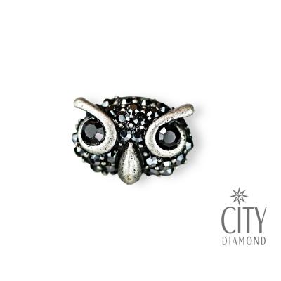 City Diamond引雅【東京Yuki系列】復古貓頭鷹水鑽胸針/領帶/別針/徽章