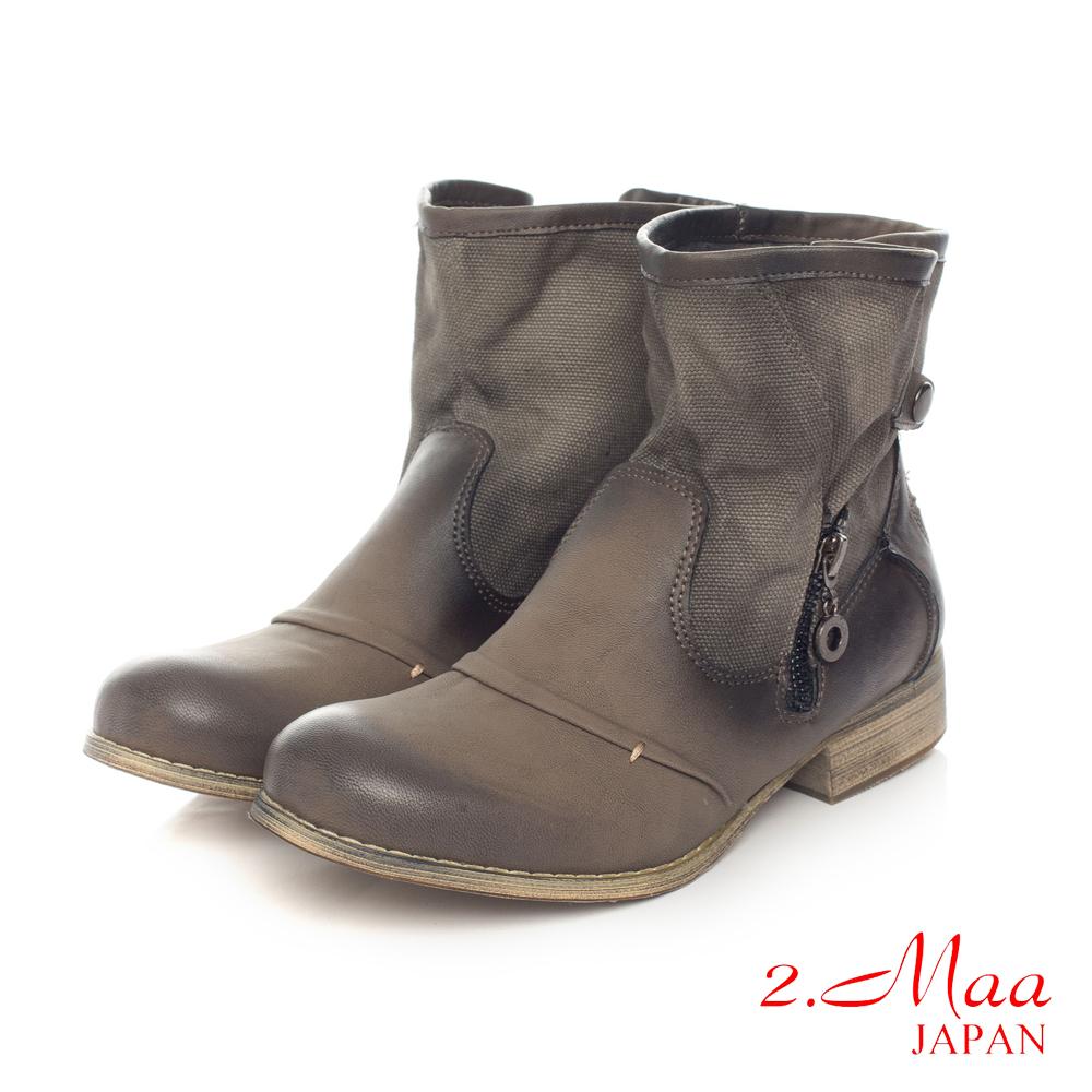 2.Maa 西部牛仔特色丹寧刷舊帆布X皮質元素新視覺踝靴-帥氣灰
