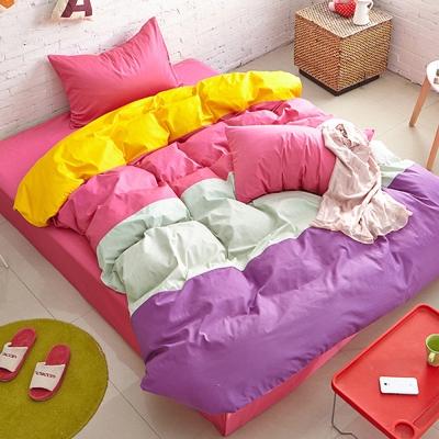Aileen-撞色糖果單人三件式被套床包組-糖果甜