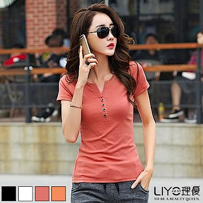 上衣V領排釦顯瘦棉T恤LIYO理優E822013 S-XL