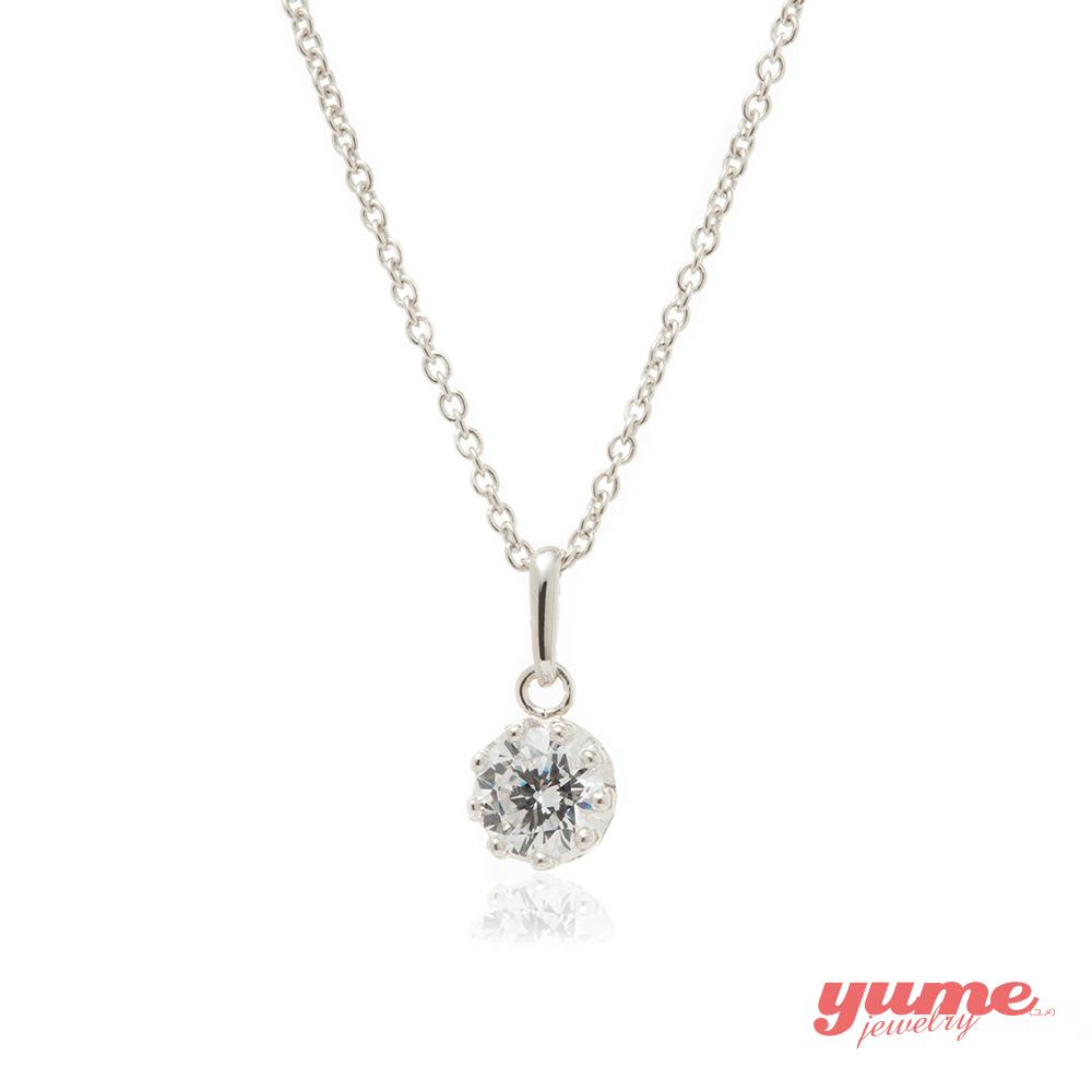 YUME K金5mm皇冠單鑽項鍊