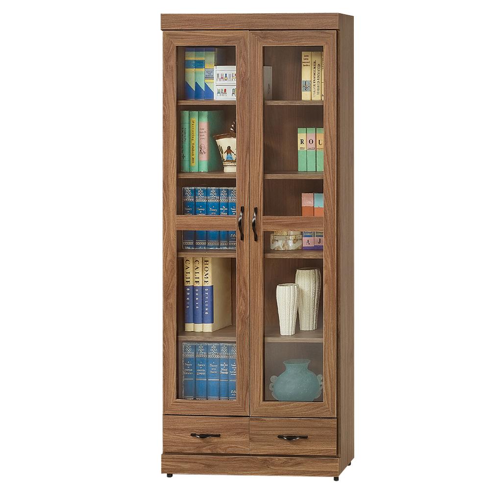 Boden-莫拉2.7尺簡約工業風二抽二門書櫃/收納櫃-80x33x180cm