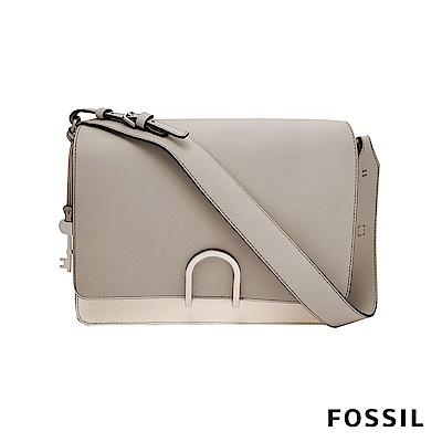 FOSSIL FINLEY 芬利雙格層麂皮柔軟真皮包-卡其/灰白