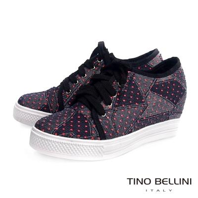 Tino-Bellini獨特牛仔造型布料內增高綁帶