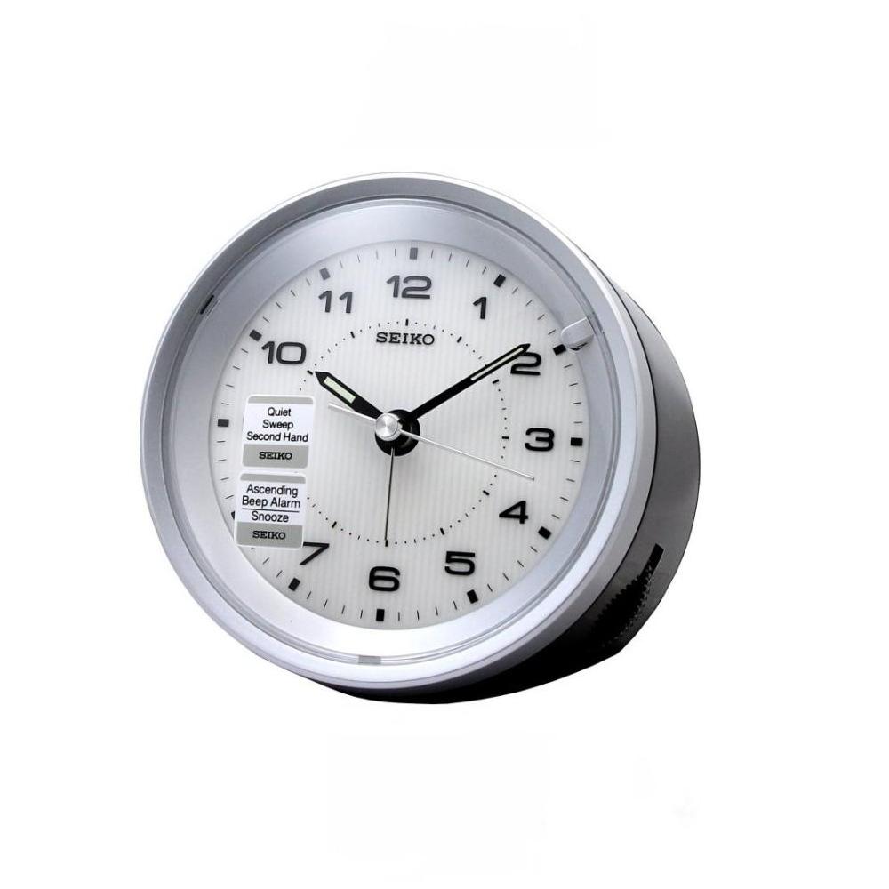 SEIKO 精工時光轉輪靜音鬧鐘(白色)