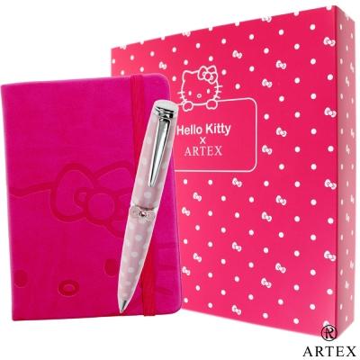 KITTY ARTEX 水鑽筆+皮質筆記本禮盒組 粉紅點點