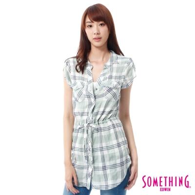 SOMETHING-長版清恬格紋襯衫-女-淡綠