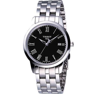 TISSOT CLASSIC DREAM 經典鋼帶腕錶(黑)