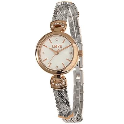 LMVE 都會質感晶鑽時尚腕錶-白/24mm