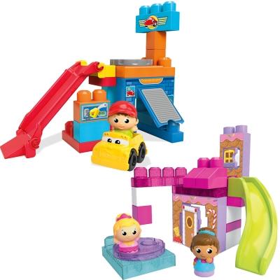 MEGA-BLOKS-美高滑梯高樓積木遊戲組-男孩