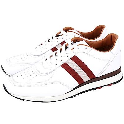 BALLY ASTON 經典織帶小牛皮繫帶休閒鞋(白色)