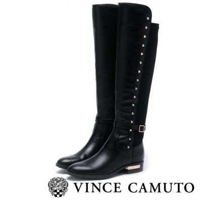 Vince Camuto 金屬飾扣鉚釘拼接長靴-黑色