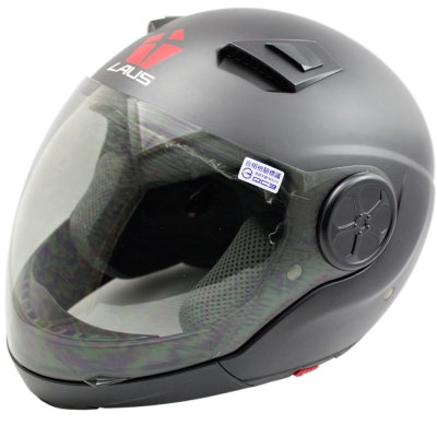 LAUS全罩下巴可拆式內置墨鏡素色安全帽-消光黑 L-快