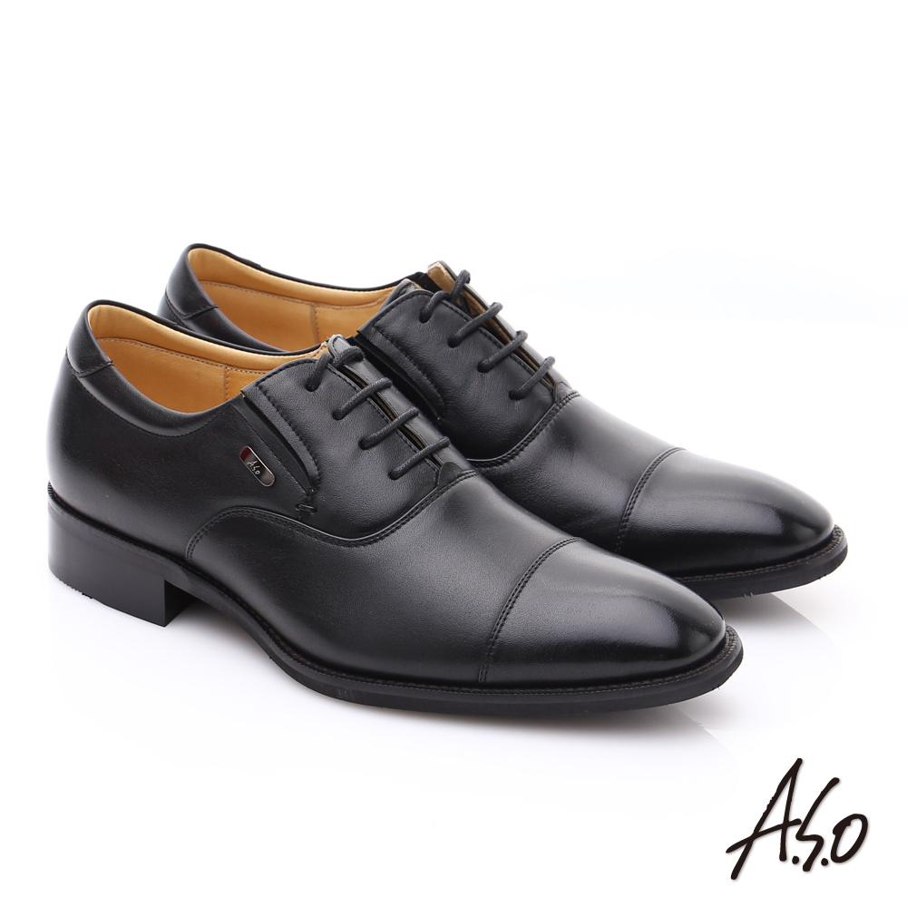 A.S.O 超輕雙核心 羊皮綁帶紳士皮鞋 黑色