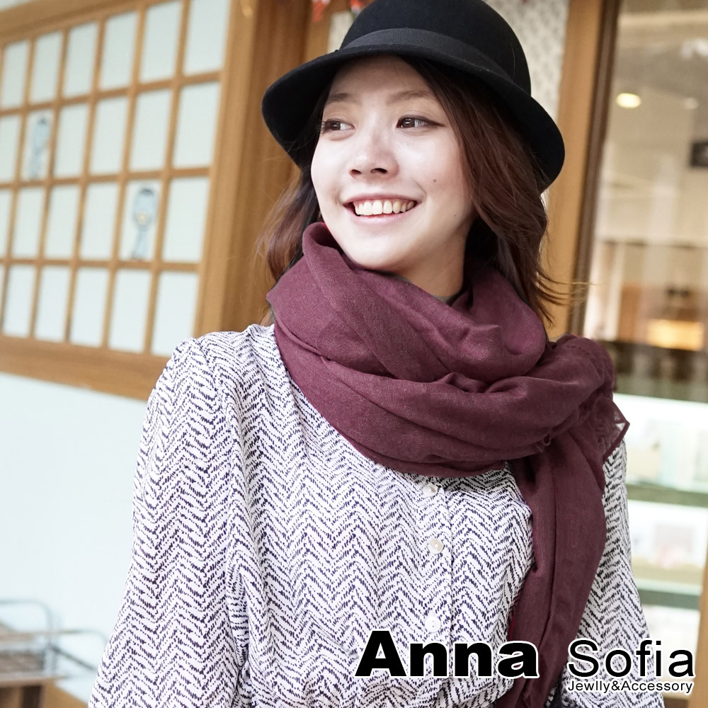 AnnaSofia 軟柔手感棉麻 超大寬版披肩圍巾(暖楓系-33暗紅)