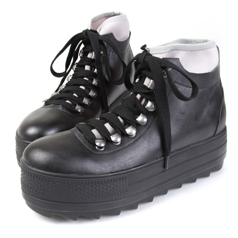 TTSNAP設計師聯名款 經典個性牛皮繫帶鋸齒厚底鞋 灰