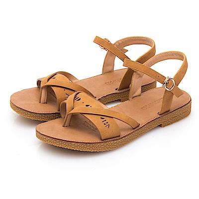 JMS-軟Q舒壓一字帶刻花厚底夾腳涼鞋-棕色