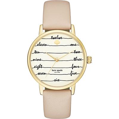 Kate Spade Gramercy 心電感應時尚腕錶-金框x杏色/34mm