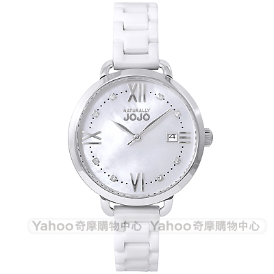 NATURALLY JOJO 優雅晶鑽時尚陶瓷手錶-珍珠貝/35mm