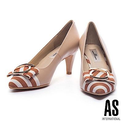 高跟鞋 AS 夏日度假風金圓飾造型粗條紋拼接羊皮尖頭高跟鞋-米
