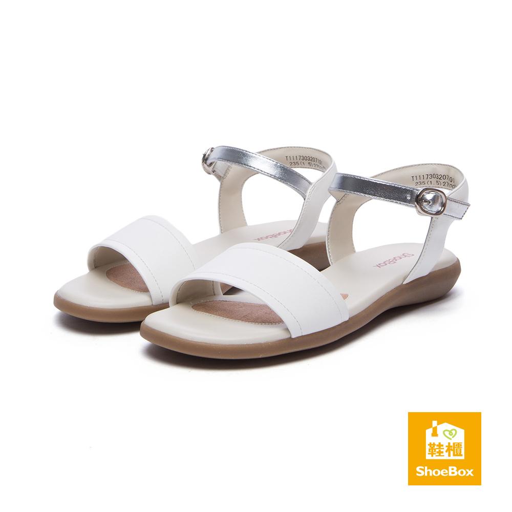 達芙妮DAPHNE ShoeBox系列 涼鞋-一字帶繞踝簡約金屬涼鞋-白