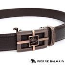 PB-皮爾帕門-經典方框簍空十字Logo玫瑰金款-頭層牛皮自動扣皮帶-855