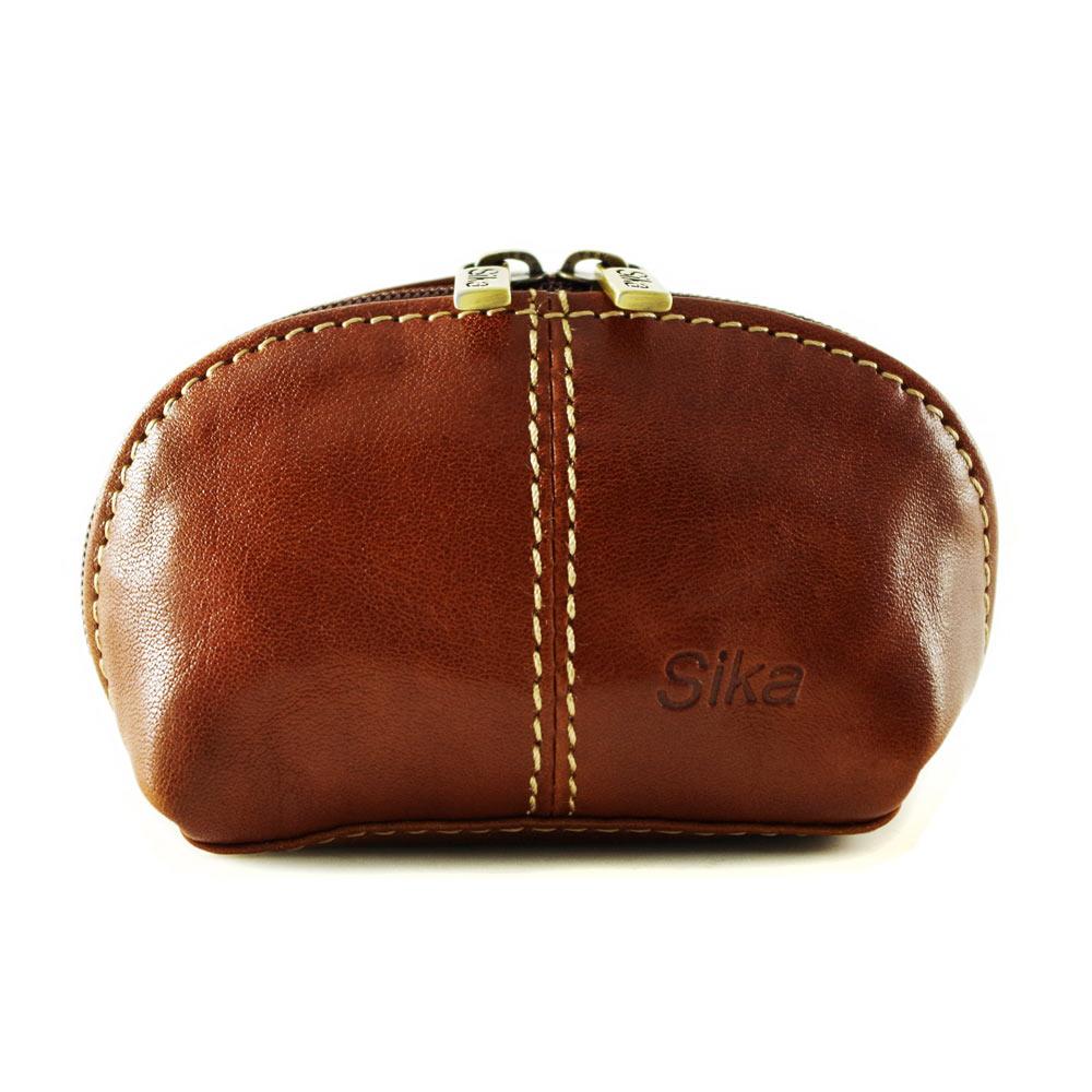 Sika - 義大利時尚真皮復古小巧拉鍊零錢包A8259-01 - 原味褐